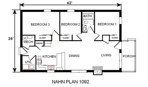 Plan 1092 national affordable housing network for Fha house plans